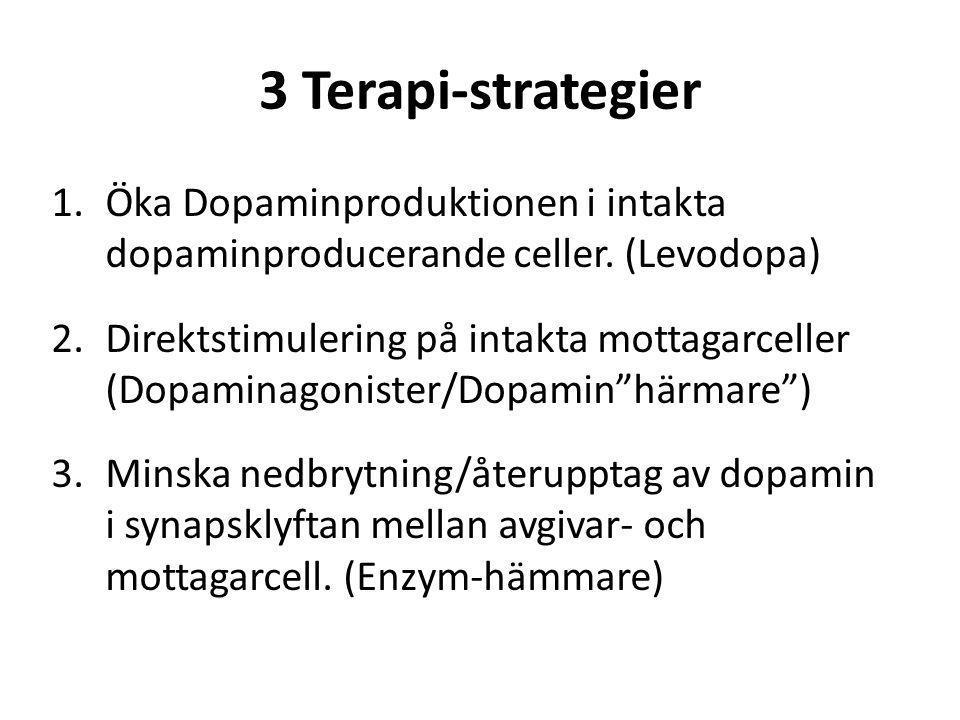 3 Terapi-strategier 1.Öka Dopaminproduktionen i intakta dopaminproducerande celler. (Levodopa) 2.Direktstimulering på intakta mottagarceller (Dopamina