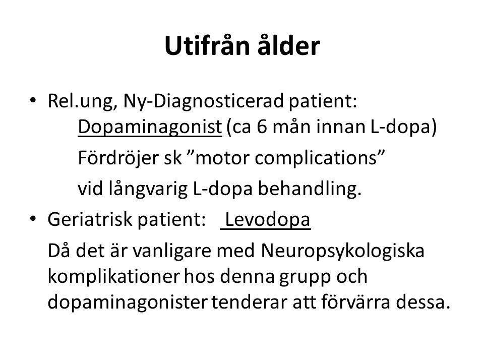 """Utifrån ålder • Rel.ung, Ny-Diagnosticerad patient: Dopaminagonist (ca 6 mån innan L-dopa) Fördröjer sk """"motor complications"""" vid långvarig L-dopa beh"""
