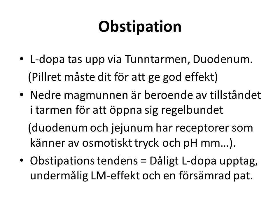 Obstipation • L-dopa tas upp via Tunntarmen, Duodenum. (Pillret måste dit för att ge god effekt) • Nedre magmunnen är beroende av tillståndet i tarmen