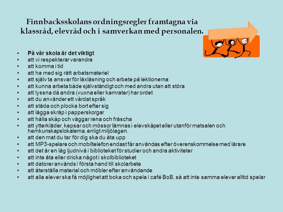 Finnbacksskolans ordningsregler framtagna via klassråd, elevråd och i samverkan med personalen. •På vår skola är det viktigt •att vi respekterar varan