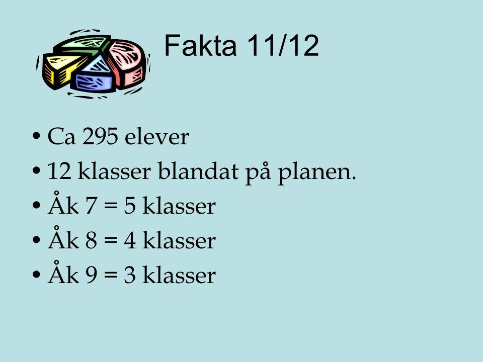 Fakta 11/12 •Ca 295 elever •12 klasser blandat på planen. •Åk 7 = 5 klasser •Åk 8 = 4 klasser •Åk 9 = 3 klasser