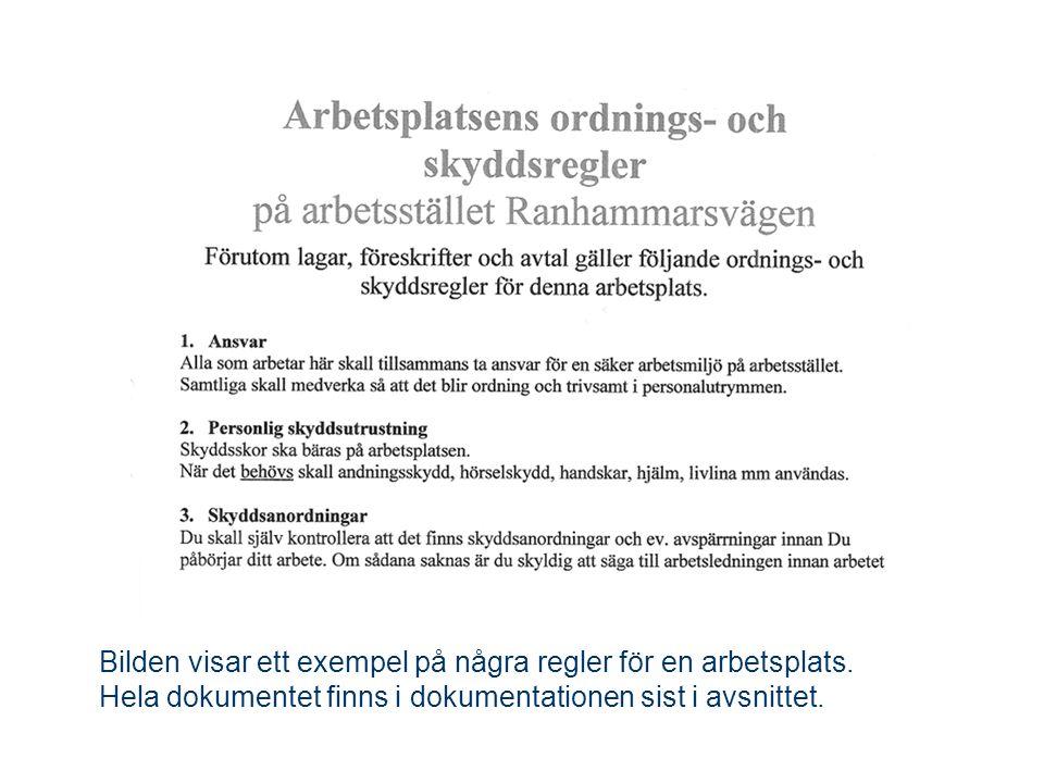 Bilden visar ett exempel på några regler för en arbetsplats. Hela dokumentet finns i dokumentationen sist i avsnittet.