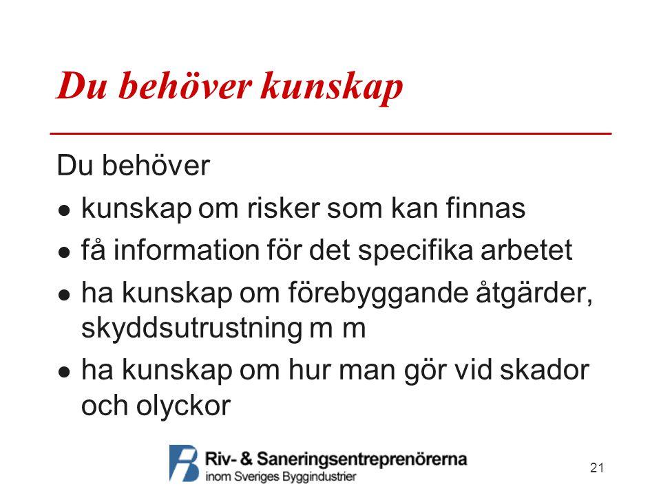Du behöver kunskap Du behöver ● kunskap om risker som kan finnas ● få information för det specifika arbetet ● ha kunskap om förebyggande åtgärder, sky