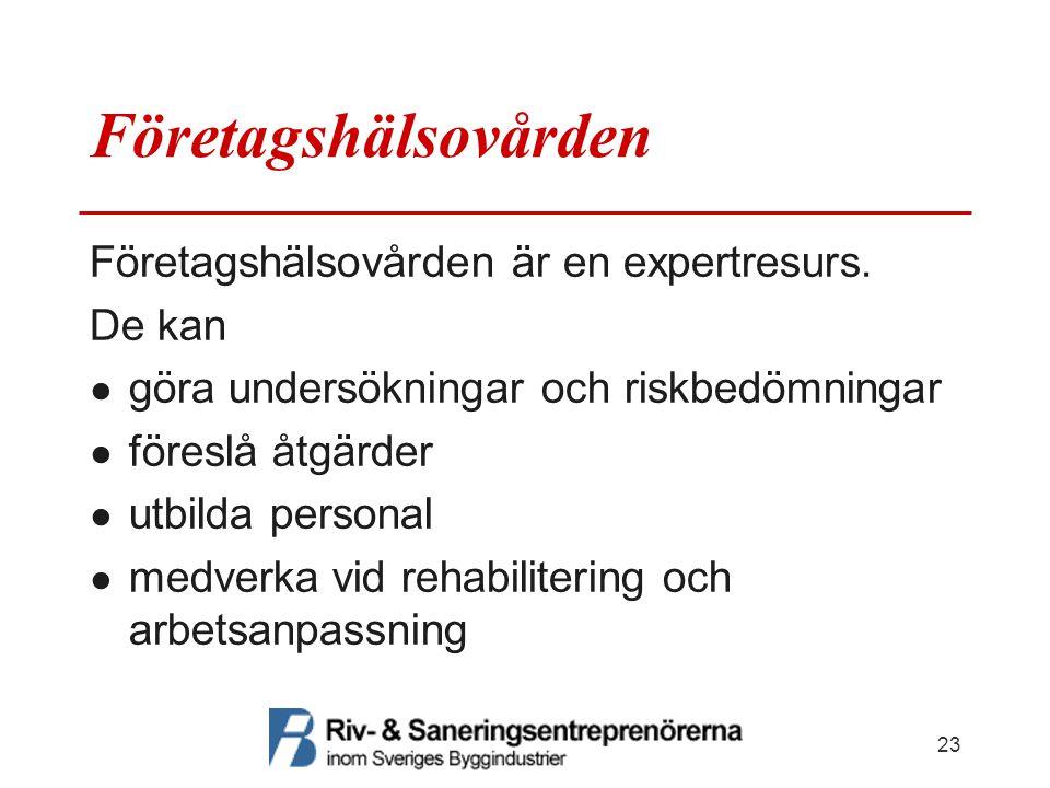 Företagshälsovården Företagshälsovården är en expertresurs. De kan ● göra undersökningar och riskbedömningar ● föreslå åtgärder ● utbilda personal ● m