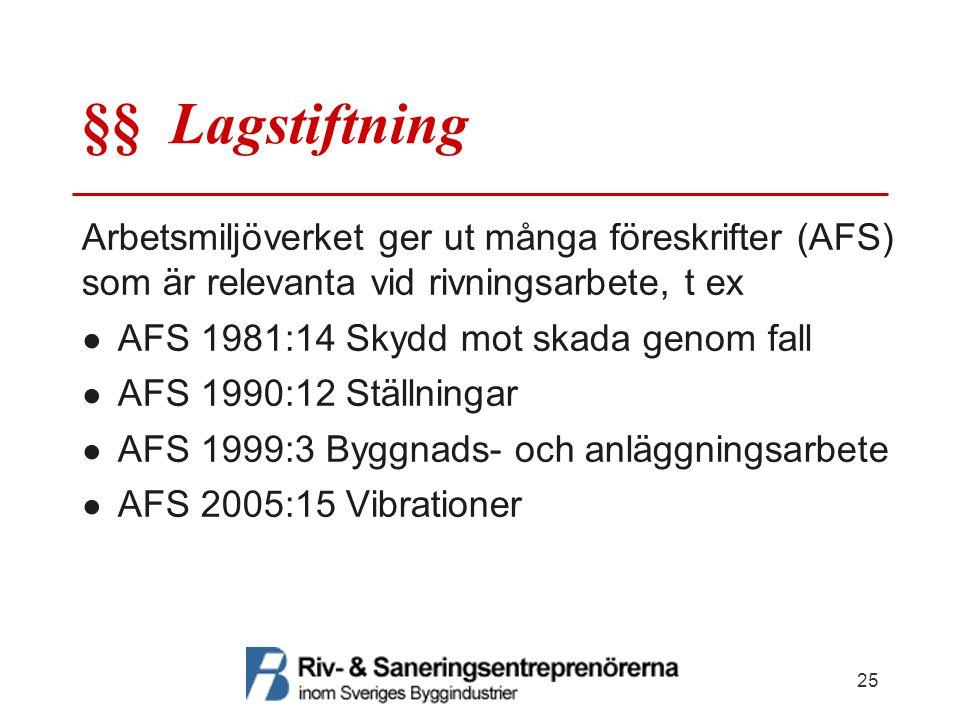 §§ Lagstiftning Arbetsmiljöverket ger ut många föreskrifter (AFS) som är relevanta vid rivningsarbete, t ex ● AFS 1981:14 Skydd mot skada genom fall ●