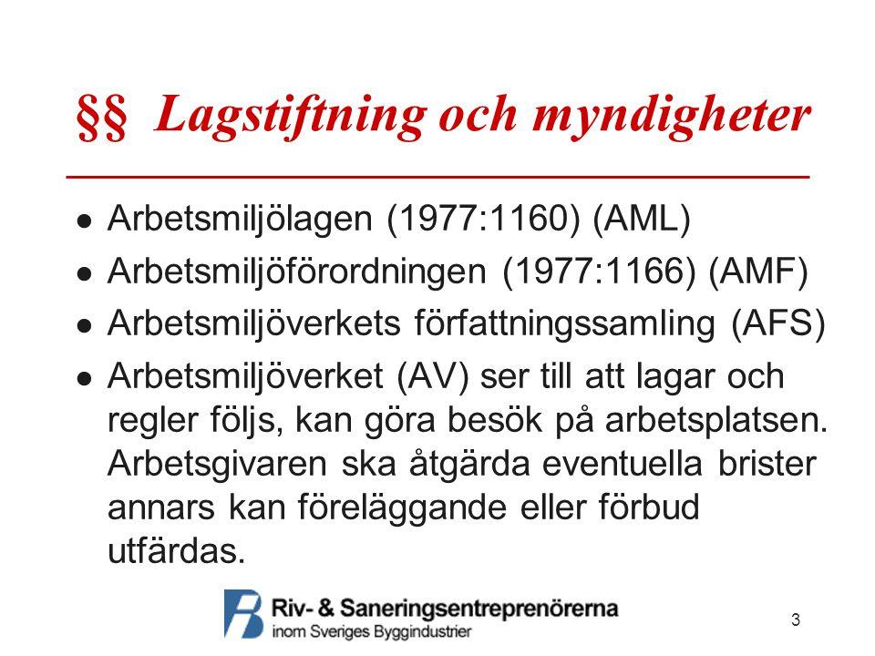 §§ Lagstiftning och myndigheter ● Arbetsmiljölagen (1977:1160) (AML) ● Arbetsmiljöförordningen (1977:1166) (AMF) ● Arbetsmiljöverkets författningssaml