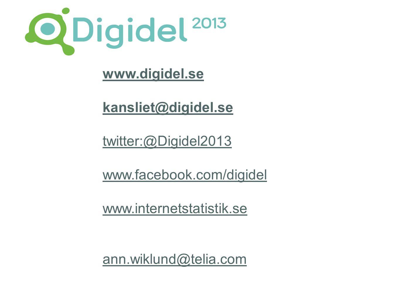 www.digidel.se kansliet@digidel.se twitter:@Digidel2013 www.facebook.com/digidel www.internetstatistik.se ann.wiklund@telia.com