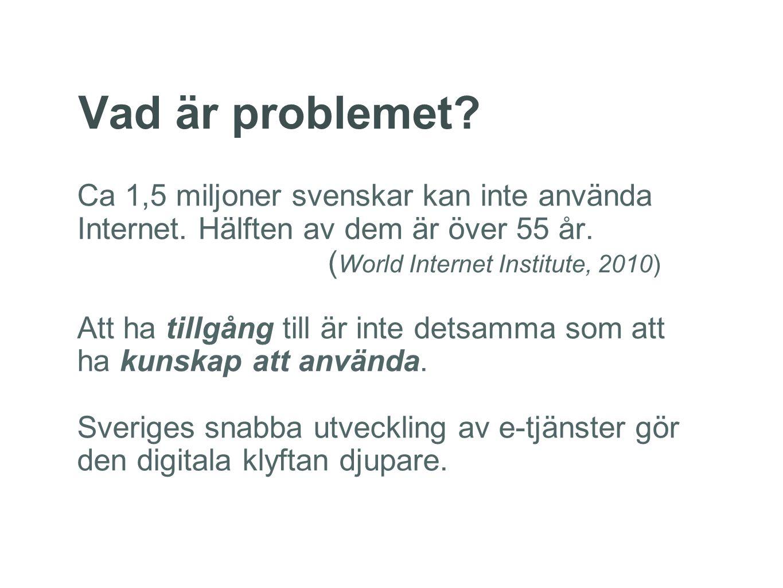 Vad är problemet? Ca 1,5 miljoner svenskar kan inte använda Internet. Hälften av dem är över 55 år. ( World Internet Institute, 2010) Att ha tillgång