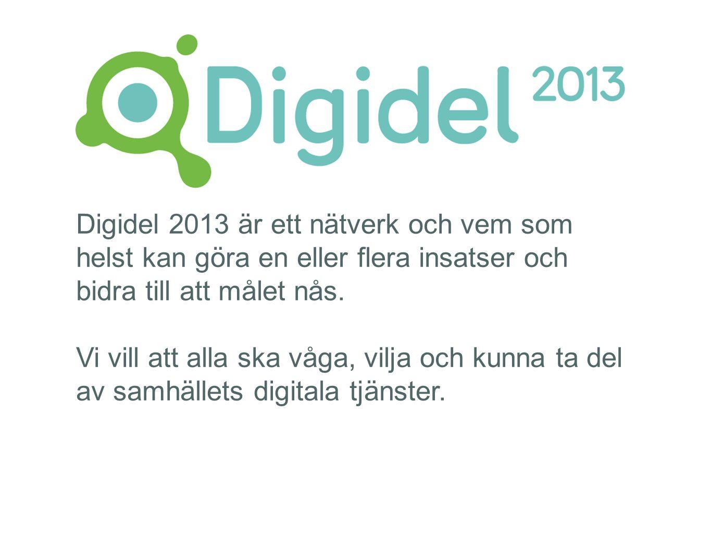 Digidel 2013 är ett nätverk och vem som helst kan göra en eller flera insatser och bidra till att målet nås. Vi vill att alla ska våga, vilja och kunn