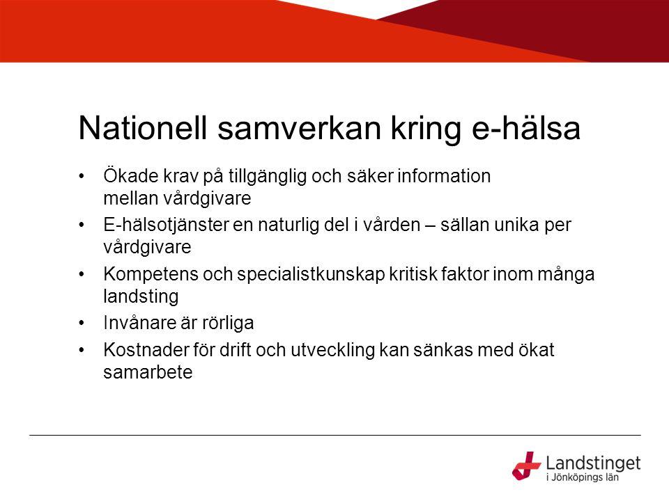 Nationell samverkan kring e-hälsa •Ökade krav på tillgänglig och säker information mellan vårdgivare •E-hälsotjänster en naturlig del i vården – sälla