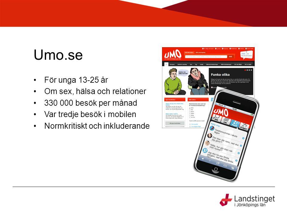 Umo.se •För unga 13-25 år •Om sex, hälsa och relationer •330 000 besök per månad •Var tredje besök i mobilen •Normkritiskt och inkluderande
