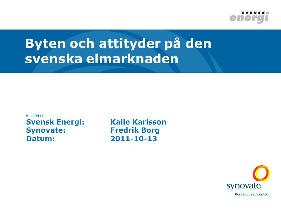 S-120441 Svensk Energi:Kalle Karlsson Synovate:Fredrik Borg Datum:2011-10-13 Byten och attityder på den svenska elmarknaden