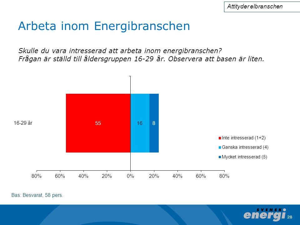 28 Arbeta inom Energibranschen Bas: Besvarat, 58 pers.