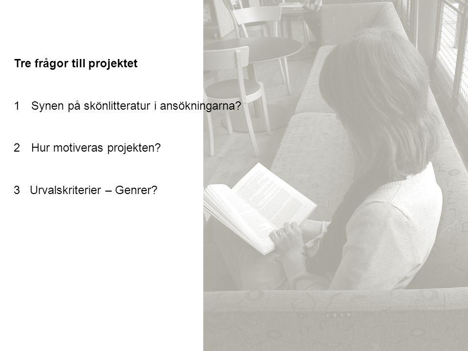 Tre frågor till projektet 1Synen på skönlitteratur i ansökningarna? 2Hur motiveras projekten? 3 Urvalskriterier – Genrer?
