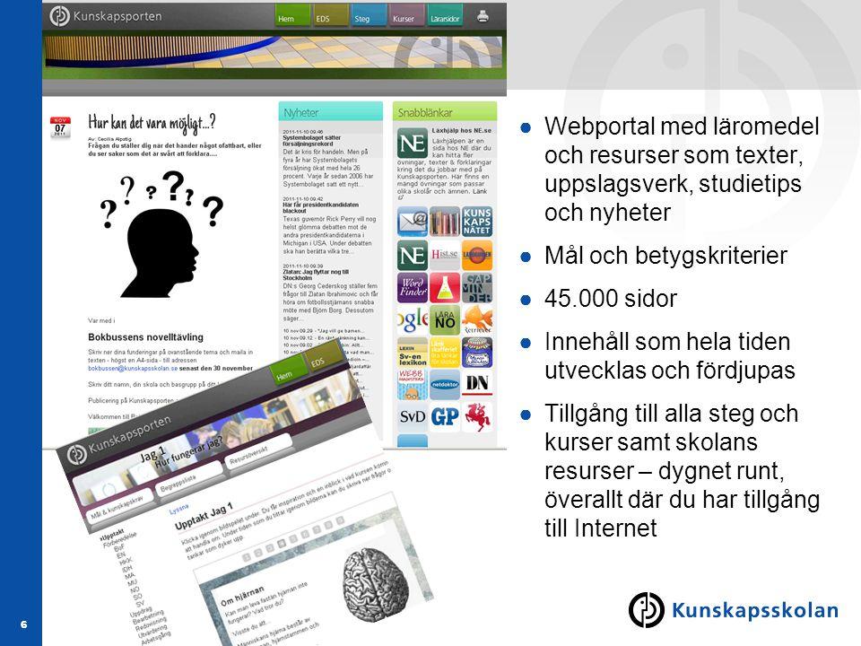 6 ●Webportal med läromedel och resurser som texter, uppslagsverk, studietips och nyheter ●Mål och betygskriterier ●45.000 sidor ●Innehåll som hela tid