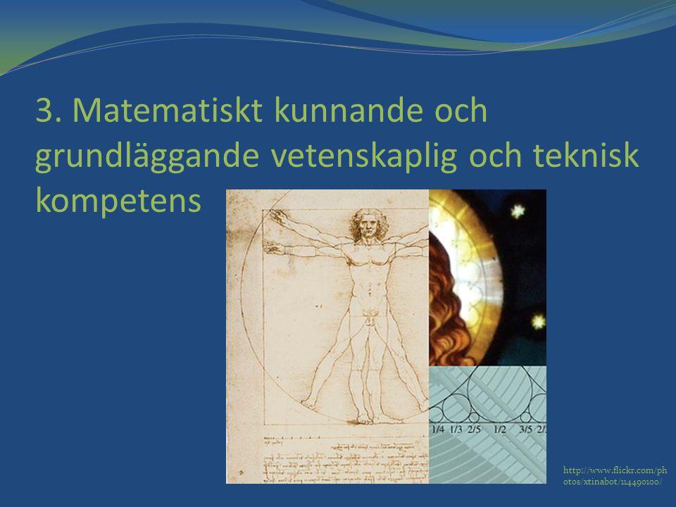 3. Matematiskt kunnande och grundläggande vetenskaplig och teknisk kompetens http://www.flickr.com/ph otos/xtinabot/114490100/