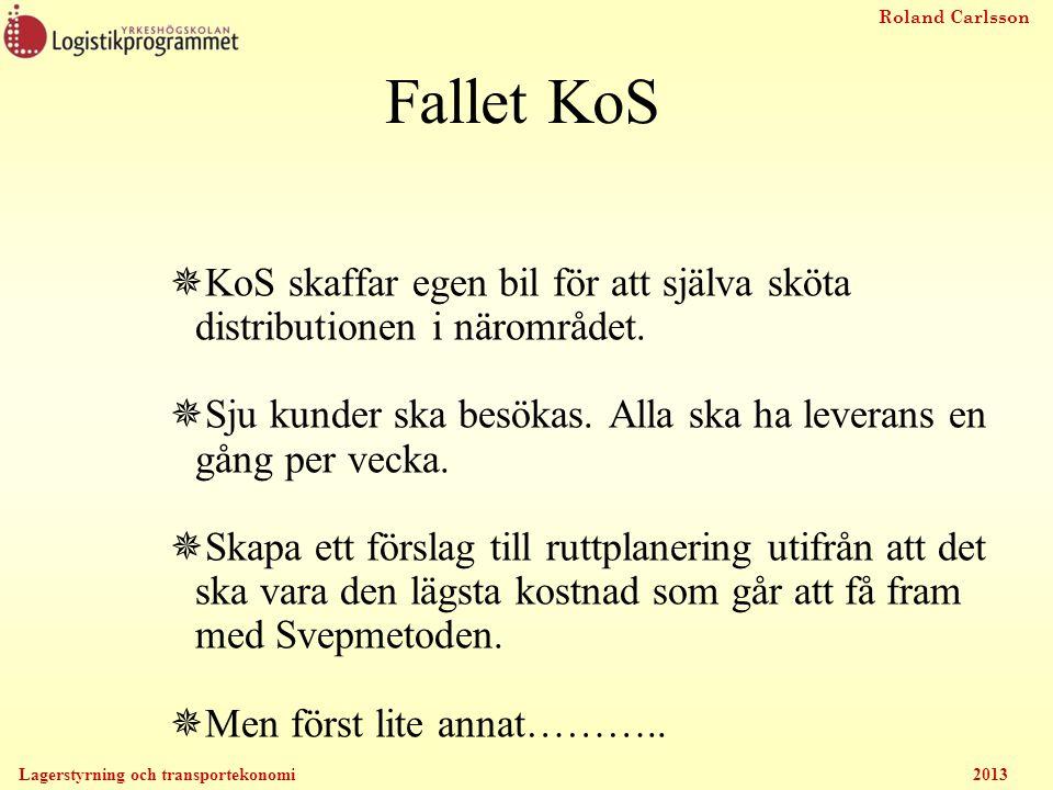 Roland Carlsson Lagerstyrning och transportekonomi 2013 Fallet KoS  KoS skaffar egen bil för att själva sköta distributionen i närområdet.  Sju kund