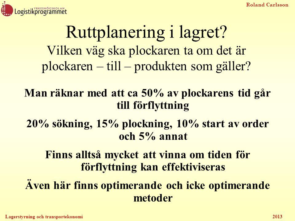 Roland Carlsson Lagerstyrning och transportekonomi 2013 Ruttplanering i lagret? Vilken väg ska plockaren ta om det är plockaren – till – produkten som