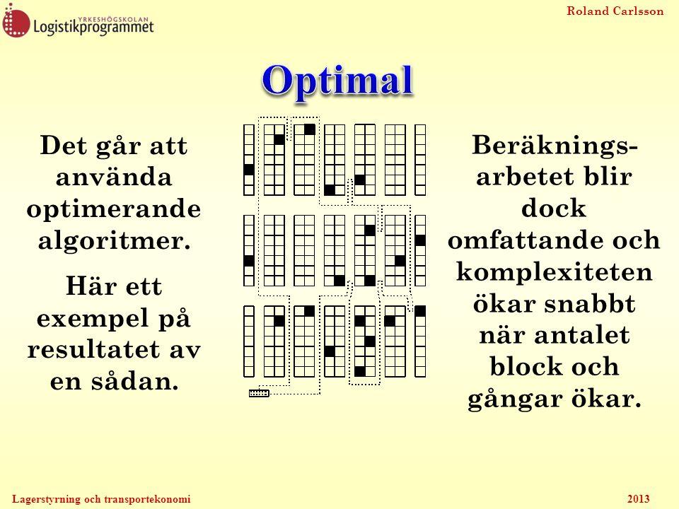 Roland Carlsson Lagerstyrning och transportekonomi 2013 Det går att använda optimerande algoritmer. Här ett exempel på resultatet av en sådan. Beräkni