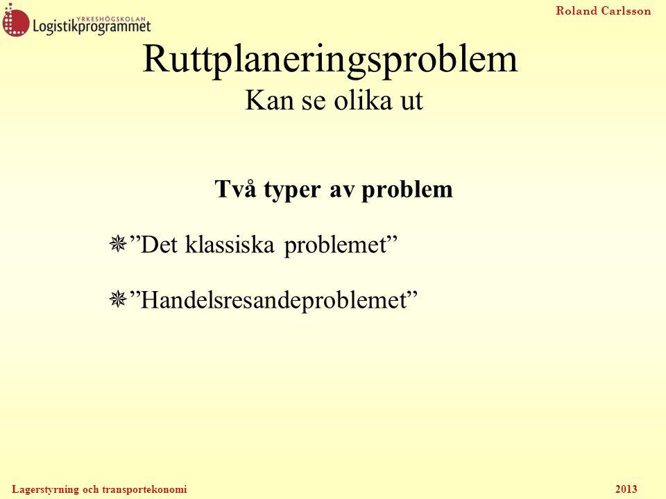 Roland Carlsson Lagerstyrning och transportekonomi 2013 Ruttplaneringsproblem Kan se olika ut Två typer av problem  Det klassiska problemet  Handelsresandeproblemet