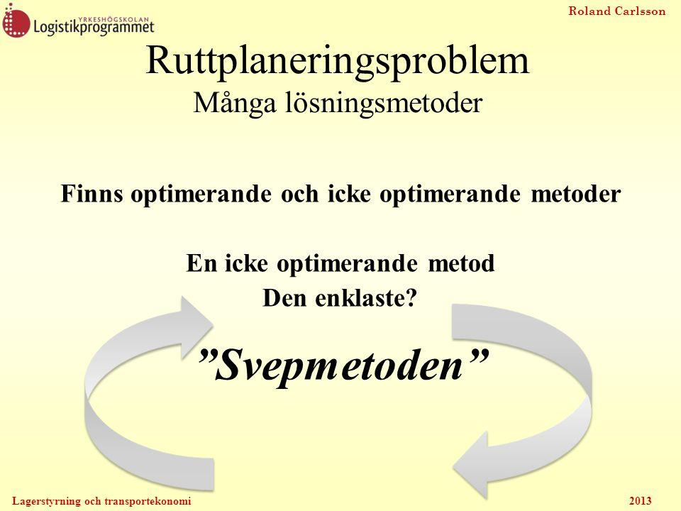 Roland Carlsson Lagerstyrning och transportekonomi 2013 Ruttplaneringsproblem Många lösningsmetoder Finns optimerande och icke optimerande metoder En