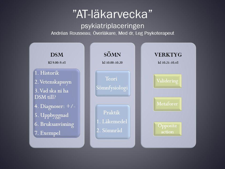 Historik APA – American Psychiatric Association År 1840 – mäta antalet idioter År 1880 – 7 olika kategorier DSM I 1952 -variant av ICD-6 psykoanalytisk modell DSM II1968 DSM III1980 - stor spridning, neuros borta, biomedicinsk modell, symptommodell, ateoretisk, axlar DSM III-R 1987 – nya kriterier DSM IV 1994 DSM IV-TR 2000 DSM V 2013 (?)