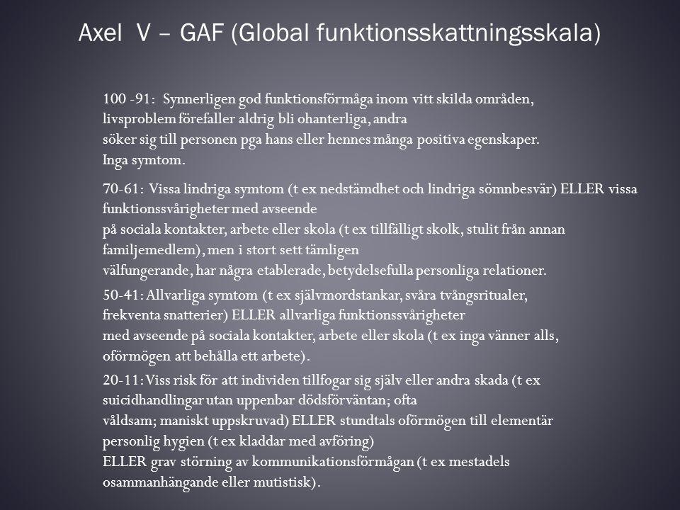 Axel V – GAF (Global funktionsskattningsskala) 100 -91: Synnerligen god funktionsförmåga inom vitt skilda områden, livsproblem förefaller aldrig bli o