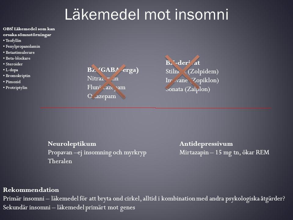 Läkemedel mot insomni OBS! Läkemedel som kan orsaka sömnstörningar • Teofyllin • Fenylpropanolamin • Betastimulerare • Beta-blockare • Steroider • L-d