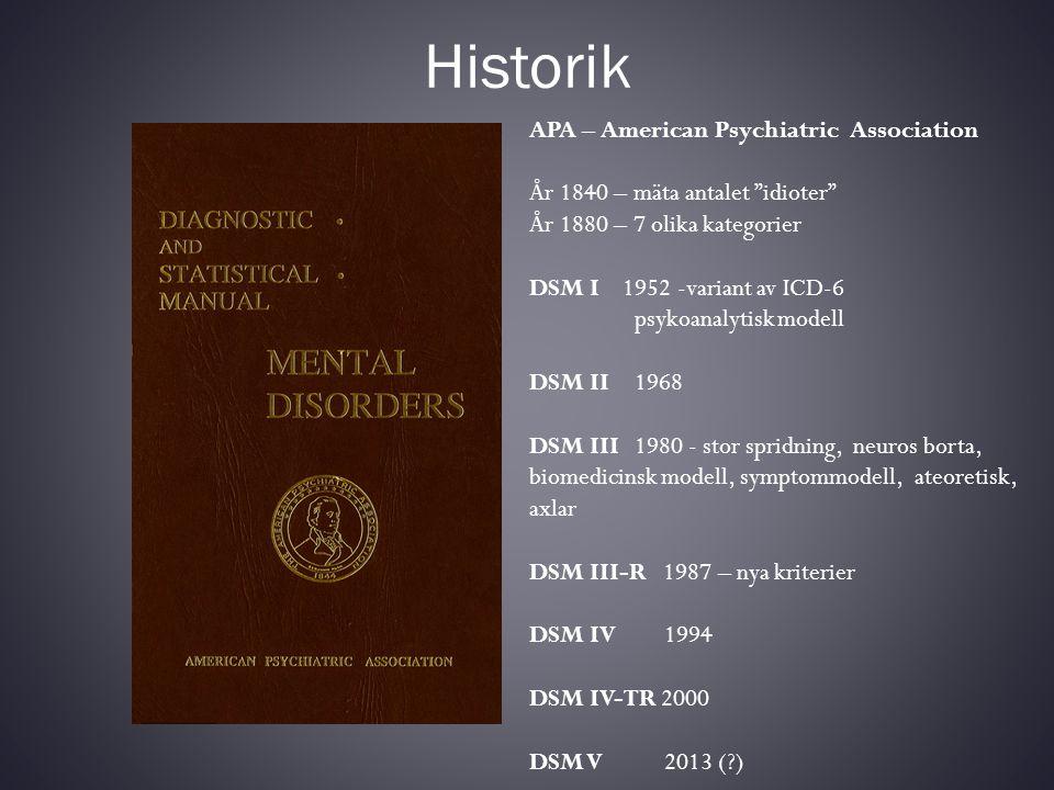 """Historik APA – American Psychiatric Association År 1840 – mäta antalet """"idioter"""" År 1880 – 7 olika kategorier DSM I 1952 -variant av ICD-6 psykoanalyt"""