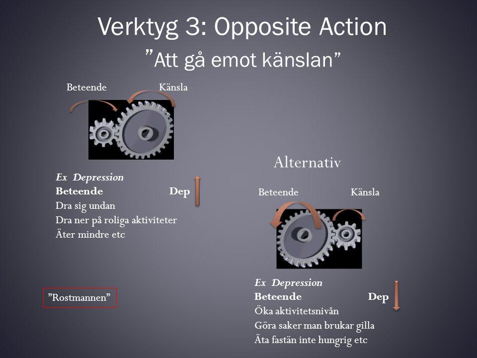"""Verktyg 3: Opposite Action """" Att gå emot känslan"""" Beteende Känsla Ex Depression Beteende Dep Dra sig undan Dra ner på roliga aktiviteter Äter mindre e"""
