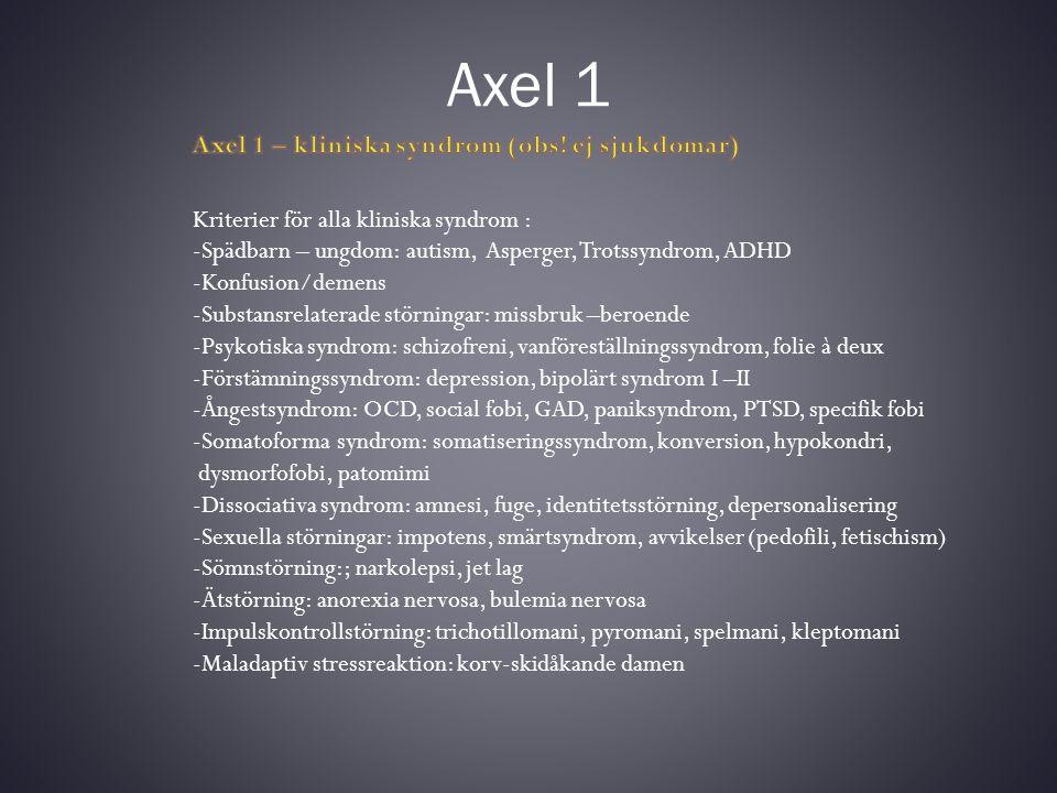 Axel II Cluster ACluster BCluster C ParanoidAntisocialUndvikande Schizoid Emotionellt instabil Osjälvständig SchizotypalHistrioniskTvångsmässig Narcissistisk Mental retardation IK 50 -70: lindrig IK 35- 50: måttlig IK 20 -35: svår IK < 20: djupgående Inlärning tar längre tid, kognitiva svårigheter (minne, exekutiva funktioner etc) och beteendeproblem (social förmåga, kommunikation, ADL)