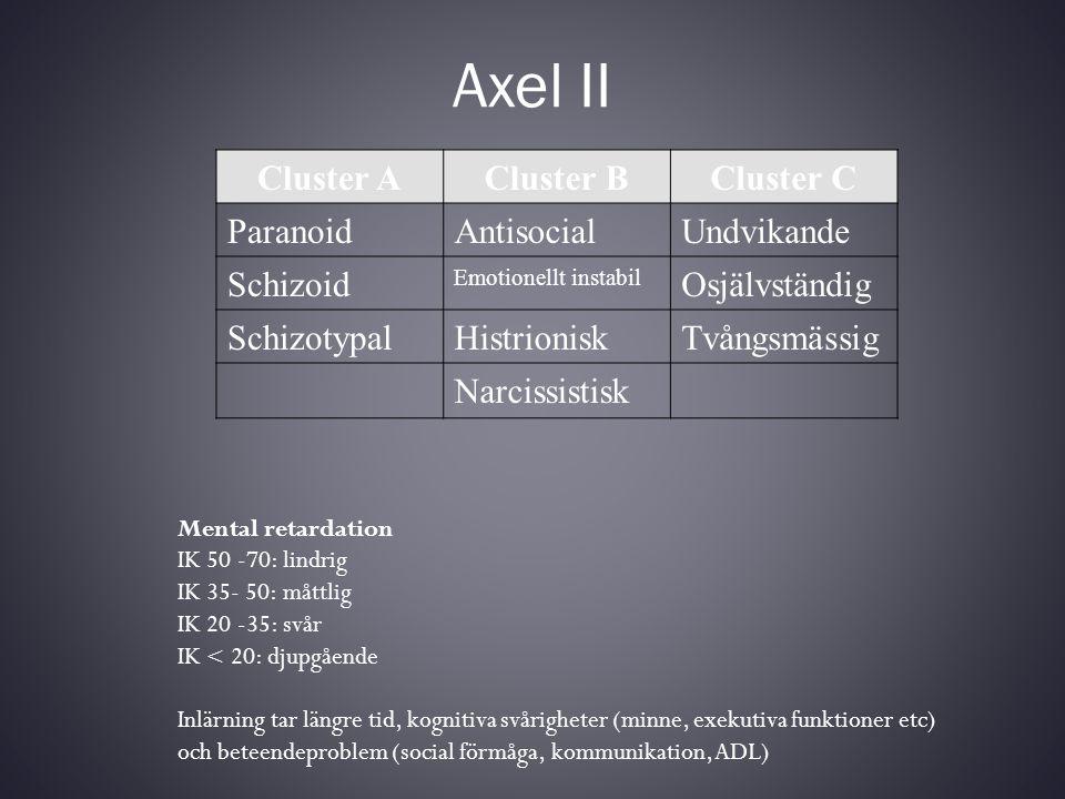 Axel II Cluster ACluster BCluster C ParanoidAntisocialUndvikande Schizoid Emotionellt instabil Osjälvständig SchizotypalHistrioniskTvångsmässig Narcis