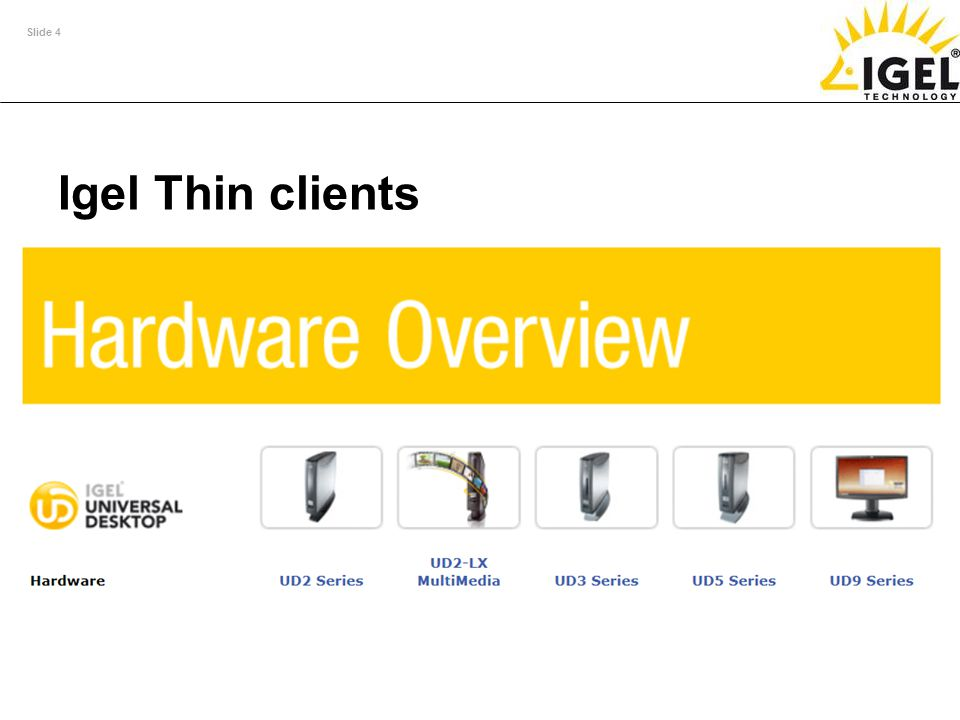 Slide 4 Igel Thin clients Full support for external SC readers in accordance with the PC/SC standard (memory and processor cards) in all IGEL model se