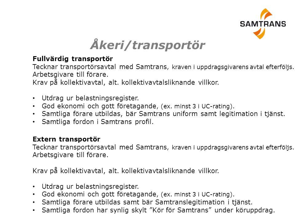 Fullvärdig transportör Tecknar transportörsavtal med Samtrans, kraven i uppdragsgivarens avtal efterföljs. Arbetsgivare till förare. Krav på kollektiv