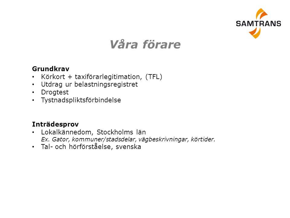 Inträdesprov • Lokalkännedom, Stockholms län Ex. Gator, kommuner/stadsdelar, vägbeskrivningar, körtider. • Tal- och hörförståelse, svenska Grundkrav •