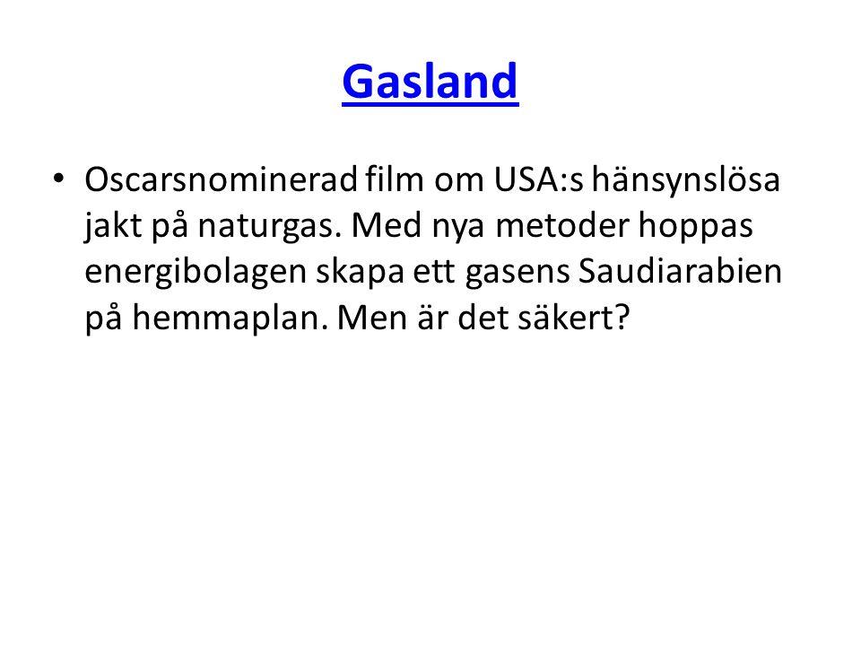 Gasland • Oscarsnominerad film om USA:s hänsynslösa jakt på naturgas. Med nya metoder hoppas energibolagen skapa ett gasens Saudiarabien på hemmaplan.