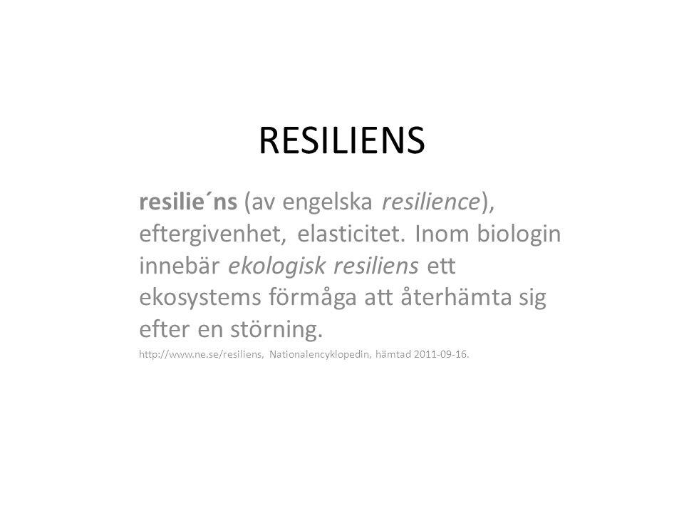 RESILIENS resilie´ns (av engelska resilience), eftergivenhet, elasticitet. Inom biologin innebär ekologisk resiliens ett ekosystems förmåga att återhä