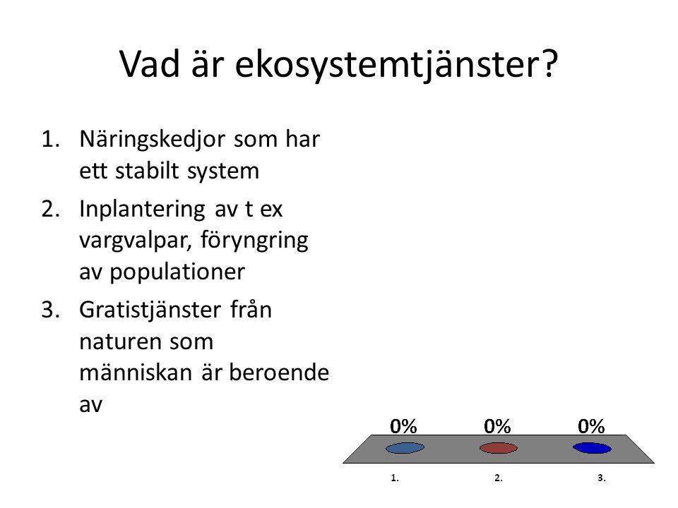 Vad är ekosystemtjänster? 1.Näringskedjor som har ett stabilt system 2.Inplantering av t ex vargvalpar, föryngring av populationer 3.Gratistjänster fr