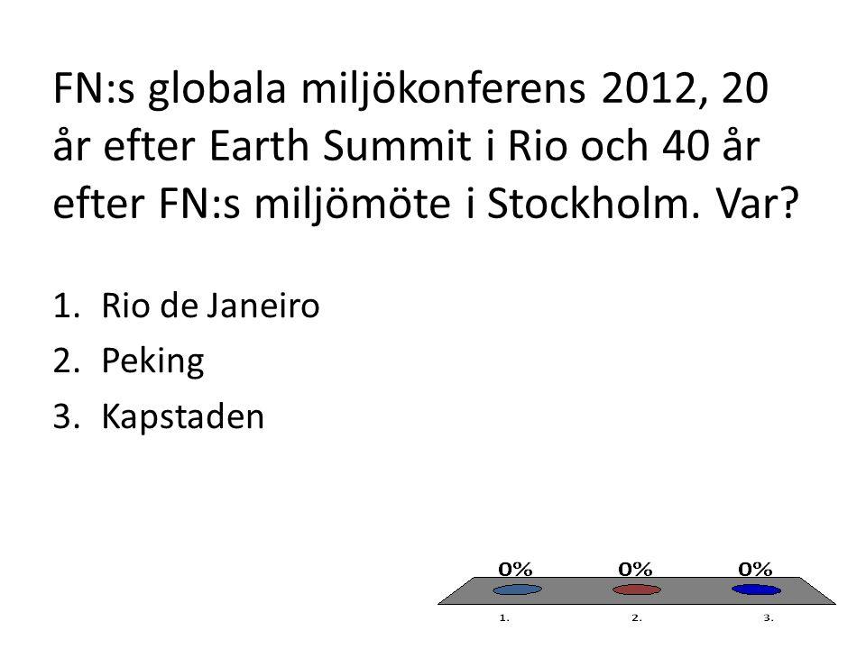 FN:s globala miljökonferens 2012, 20 år efter Earth Summit i Rio och 40 år efter FN:s miljömöte i Stockholm. Var? 1.Rio de Janeiro 2.Peking 3.Kapstade