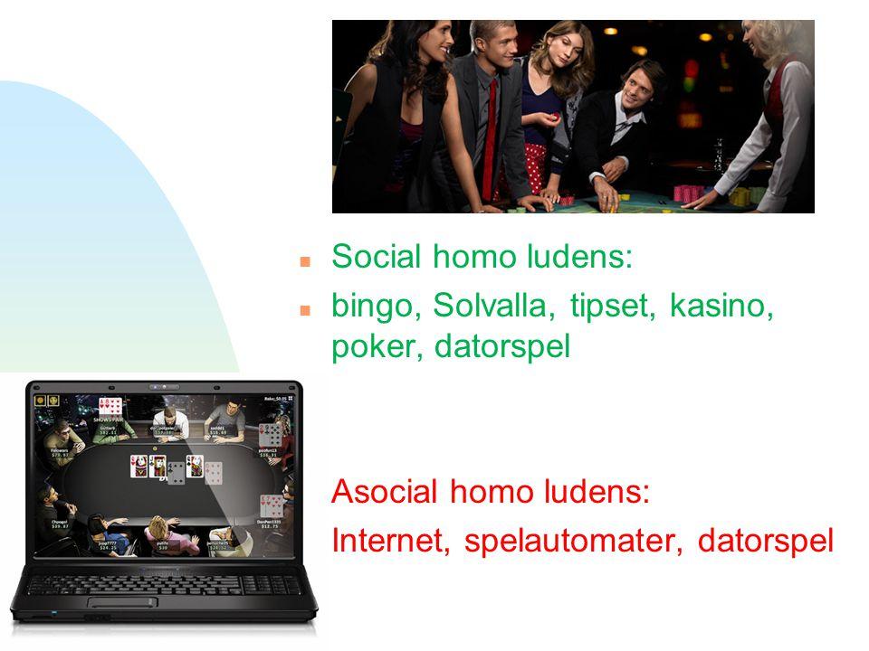 n Social homo ludens: n bingo, Solvalla, tipset, kasino, poker, datorspel n Asocial homo ludens: n Internet, spelautomater, datorspel