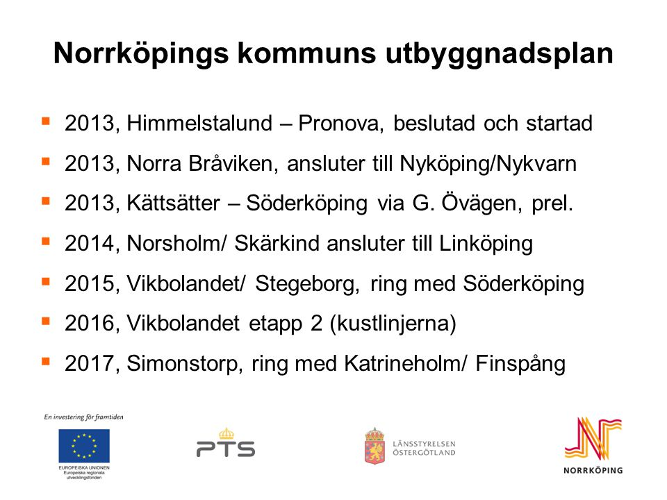 Norrköpings kommuns utbyggnadsplan  2013, Himmelstalund – Pronova, beslutad och startad  2013, Norra Bråviken, ansluter till Nyköping/Nykvarn  2013, Kättsätter – Söderköping via G.