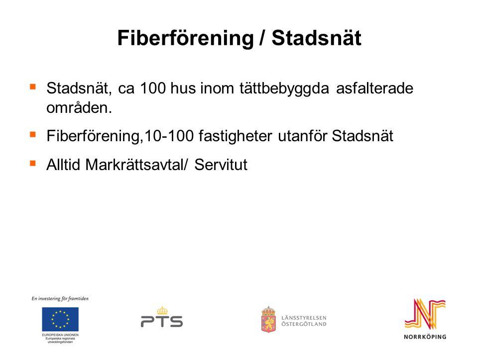 Fiberförening / Stadsnät  Stadsnät, ca 100 hus inom tättbebyggda asfalterade områden.