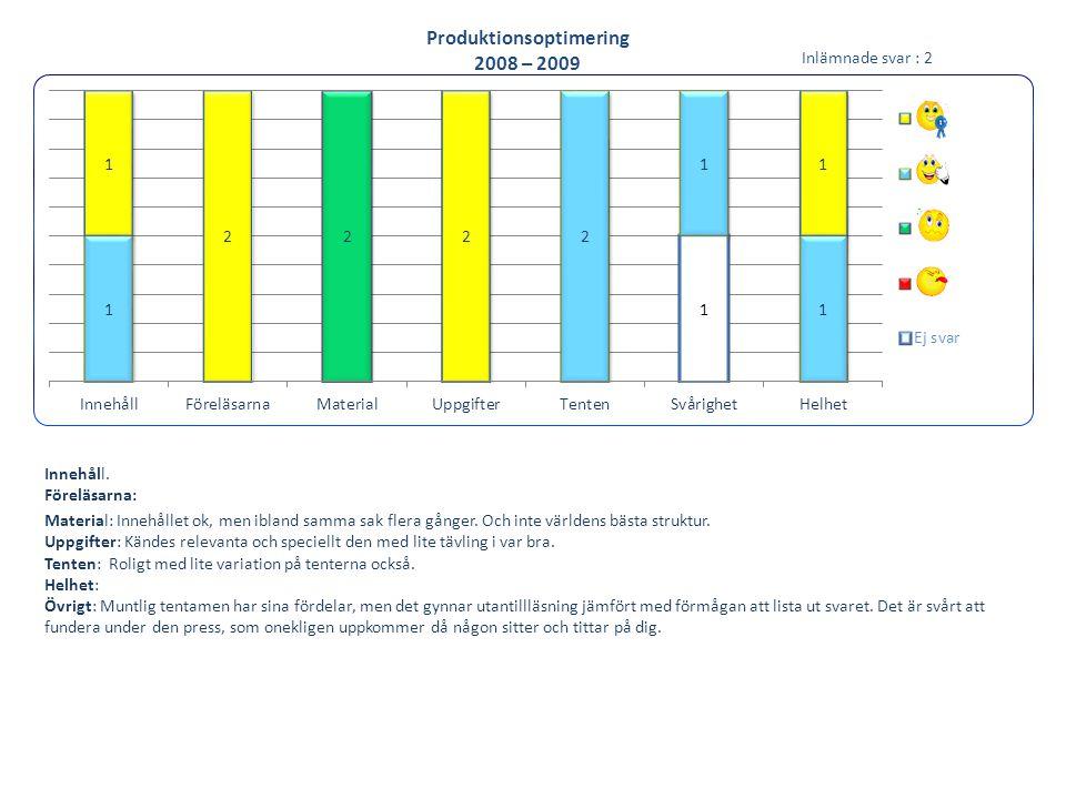 Produktionsoptimering 2008 – 2009 Innehåll. Föreläsarna: Material: Innehållet ok, men ibland samma sak flera gånger. Och inte världens bästa struktur.