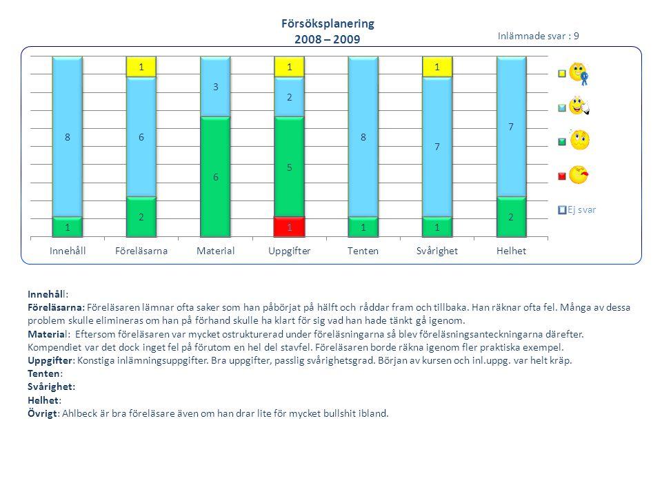 Miljökunskap 2008 - 2009 Innehåll: Skulle vara bra med lite variation på lektionerna, för mycket kärnkraft.