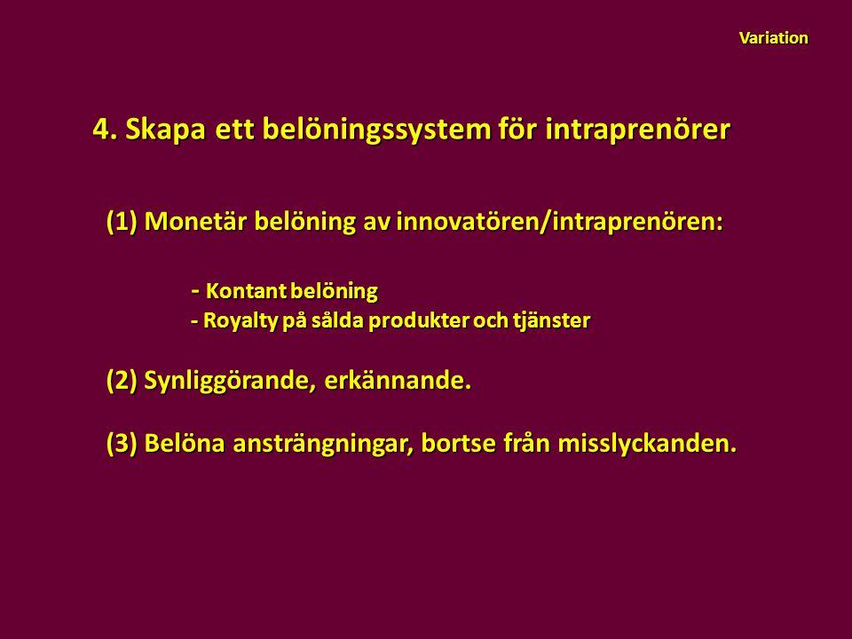 Variation 4. Skapa ett belöningssystem för intraprenörer (1) Monetär belöning av innovatören/intraprenören: - Kontant belöning - Kontant belöning - Ro