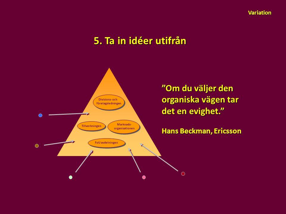 """Variation 5. Ta in idéer utifrån """"Om du väljer den organiska vägen tar det en evighet."""" Hans Beckman, Ericsson Marknads- organisationen Tillverkningen"""
