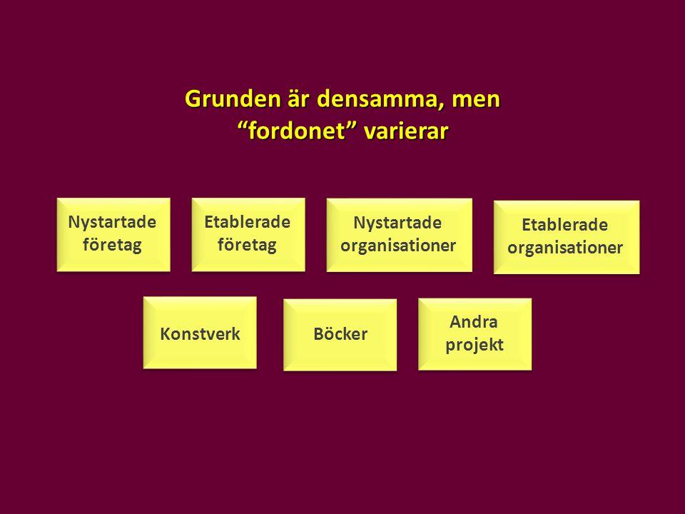 """Nystartade organisationer Nystartade företag Grunden är densamma, men """"fordonet"""" varierar Etablerade företag Etablerade organisationer Konstverk Andra"""
