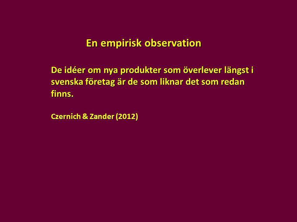 En empirisk observation De idéer om nya produkter som överlever längst i svenska företag är de som liknar det som redan finns. Czernich & Zander (2012
