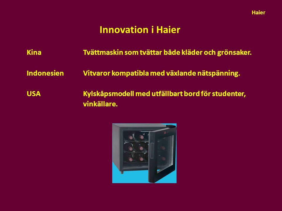 Innovation i Haier Kina Tvättmaskin som tvättar både kläder och grönsaker. IndonesienVitvaror kompatibla med växlande nätspänning. USA Kylskåpsmodell
