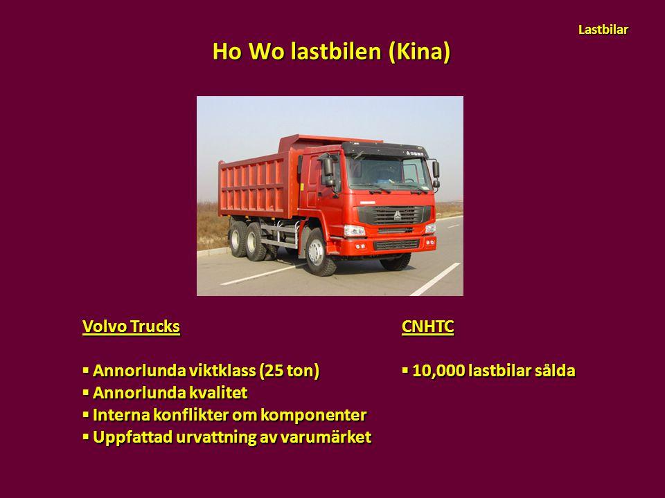 Volvo Trucks ▪ Annorlunda viktklass (25 ton) ▪ Annorlunda kvalitet ▪ Interna konflikter om komponenter ▪ Uppfattad urvattning av varumärket Ho Wo last